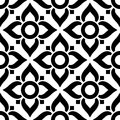 Thai seamless pattern with flowers - black and white tile, inspired by art from Thailand