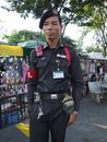 Thai security guard, Bangkok. Royalty Free Stock Photography