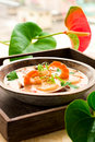 Thai soup with prawn and scallop Stock Image