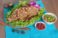 Thai spicy salad with catfish menu food background shooting set Stock Image