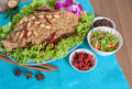 Thai spicy salad with catfish menu food background shooting set Stock Photo