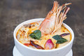 Thai spicy soup. Tom yum koong Royalty Free Stock Photo
