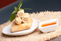 Thai spring rolls plate of appetizer with garnish shallow depth of field Stock Image