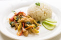 Thai stir fried chicken and basil with rice Easy to find in Thai Royalty Free Stock Photo