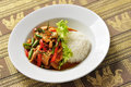 Thai stir fried chilli and basil Royalty Free Stock Photo