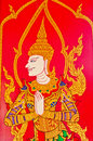 Thai style art painting on temple s door the Stock Photography