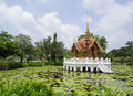 Thai style golden pavilion pond blue sky generally thailand any kinds art decorated buddhist church temple pavilion temple hall Stock Photography
