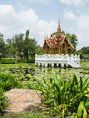 Thai style golden pavilion pond blue sky generally thailand any kinds art decorated buddhist church temple pavilion temple hall Stock Image