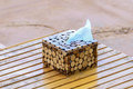 Thai style handmade wooden tissue box Royalty Free Stock Photo