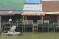 Thai style houses floating market samut songkhram thailand Royalty Free Stock Images