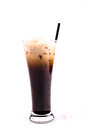 Thai style iced coffee with milk o leng isolated on white background Royalty Free Stock Photo