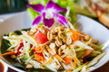 Thai style papaya salad with nuts Royalty Free Stock Photo