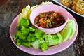 Thai style spicy dipping sauce and vegetables Royalty Free Stock Images