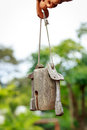Thai style wooden calling bell thailand Royalty Free Stock Photo