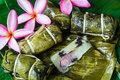 Thai sweets bunch of mush with banana filling or kao tom mud dessert Royalty Free Stock Photos