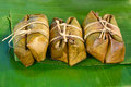 Thai sweets bunch of mush on banana leaf made from rice and Royalty Free Stock Image