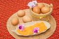Thai sweets made form egg yoke cook golden threads dessert cooked in syrup Stock Photography