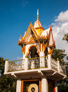 Thai temple bell tower and nice blue sky Stock Photos
