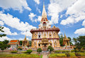 Thai temple and blue sky with clouds Stock Photography