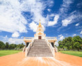 Thai temple and nice blue sky in northern thailand Royalty Free Stock Photography
