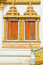 Thai temple style windows in Khon Kaen Thailand Stock Image