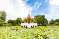 Thai temple on the water at rama garden bangkok thailand Stock Images