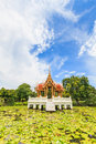 Thai temple on the water at rama garden bangkok thailand Stock Photography
