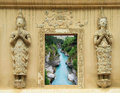 Thai temple window natural forest in Stock Image