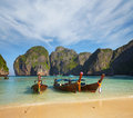 Thai traditional boats. Phi Phi Island Royalty Free Stock Images