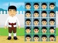 Thai Traditional Boy Cartoon Emotion faces Vector Illustration