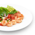 Thai traditional salad with roya shrimps delicious hot isolated on white Royalty Free Stock Photography