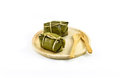 Thai traditional sticky rice dessert in banana leaf packaging Royalty Free Stock Images