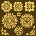 Thai traditional vector ornament and frame borders set