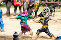 Thai warriors performing a show august samphran elephant groune and zoo nakorn prathom thailand Stock Photo