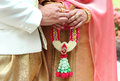 Thai wedding culture with thai dress hold garland Royalty Free Stock Photography