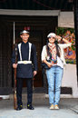 Thai woman portrait with nepalese soldiers Armed Police at Hanuman Dhoka Royalty Free Stock Photo