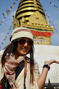 Thai woman in swayambhunath temple or monkey temple people of nepali and traveler go to for pray with wisdom eyes kathmandu nepal Royalty Free Stock Image