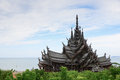 Thai Wooden Temple in Pattaya Royalty Free Stock Photo