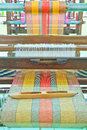 Thai woven silk machine in old style Stock Photo