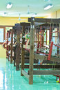 Thai woven silk machine in old style Stock Photos