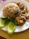 Thaifood, frird米 色咖喱海鲜 库存图片