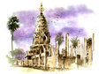 Thailand ancient pagoda painting watercolor of in sukothai beautiful water color of rich culture country Royalty Free Stock Images