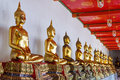 Thailand, Bangkok. Histirical and culture legacy, Tample of Dawn, Gold Buddhas Stock Photography