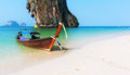 Thailand beach landscape tropical background asia ocean nature and wooden boat Stock Photo