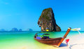 Thailand beach landscape tropical background asia ocean nature and wooden boat Royalty Free Stock Image