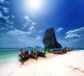 Thailand beach on tropical island beautiful travel background of asia coast Royalty Free Stock Image