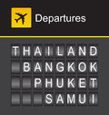 Thailand departures, Thailand flip alphabet airport, Thailand, Bangkok, Phuket, Samui Royalty Free Stock Photo