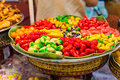 Thailand dessert of green peanut in jelly; colourful asian sweet food and snack Royalty Free Stock Photo