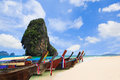 Thailand exotic sand beach and boats in asian tropical island krabi Royalty Free Stock Images