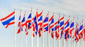 Thailand flag on a flag pole sky Royalty Free Stock Image